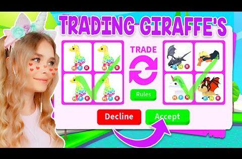 Trading Giraffes Only In Adopt Me Roblox Youtube Roblox Adoption Giraffe