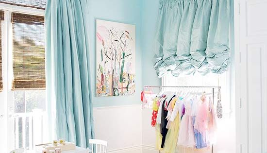 Light blue girls bedroom with black chandelier and ruffle curtains. Love the