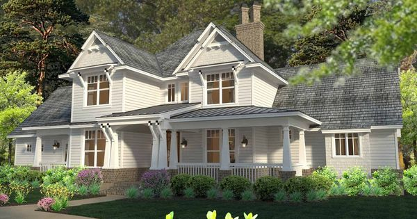 Country farmhouse front elevation plan for Houseplans com craftsman