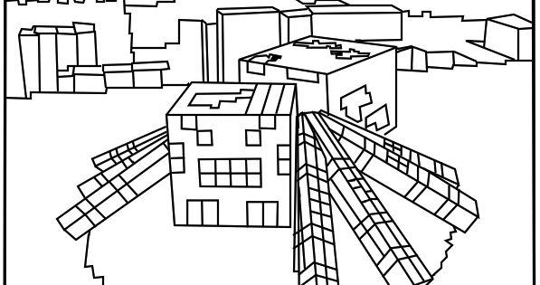 Printable Minecraft Spider Coloring Pages Elijah