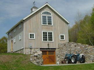 Newly Constructed Custom Barn New England Bank Barn With Stone Retaining Wall Barn House Plans Pole Barn Homes Pole Barn House Plans