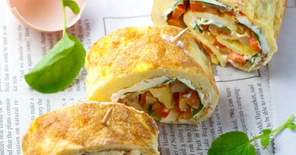 Omelet Roll ups or Roulade with Smoky Fried Potatoes, Cream Cheese and