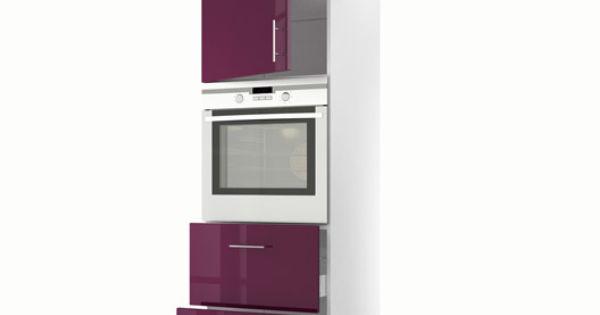 Colonne violet 1 porte 2 tiroirs rio h200xl60xp56 cm for Cuisine complete violet