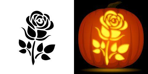 Rose pumpkin carving stencil free pdf pattern to download
