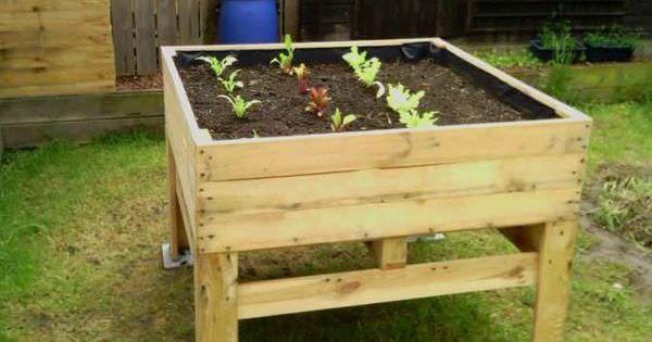 Raised vegetable planter potager sur lev pallet ideas pallets composting and planters - Jardin suspendu palette ...
