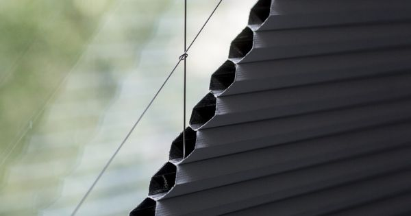 electric blackout duette pleated triangular gable blinds. Black Bedroom Furniture Sets. Home Design Ideas