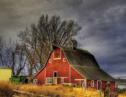 I love photos of old barns with calm character.