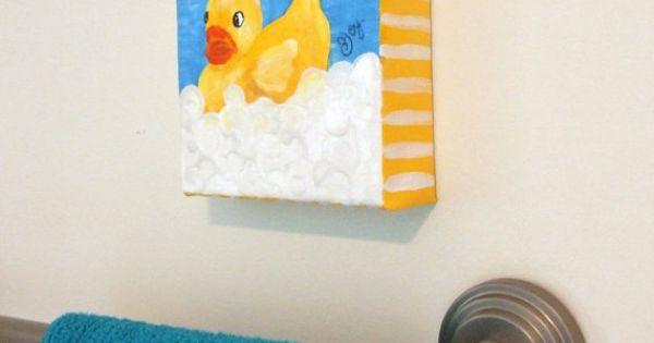 Art For Kids Rubber Ducky In Bubble Bath 5x5 Acrylic