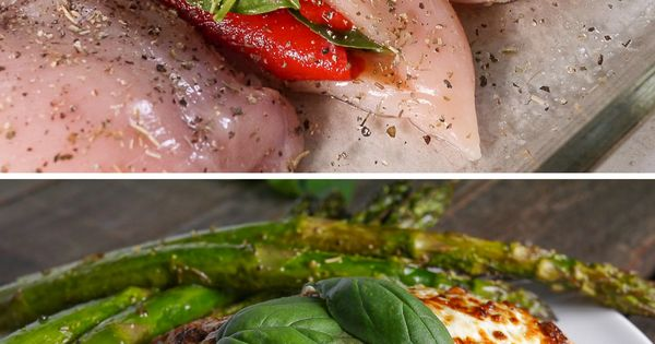 Roasted Red Pepper, Mozzarella & Basil Stuffed Chicken lowcarb protein