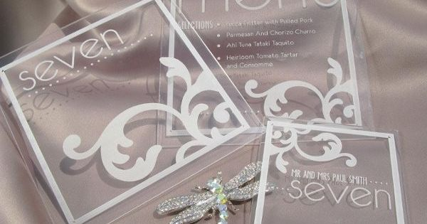 Plexiglass menu, escort cards, and table numbers By WEDology by Dejanae Events