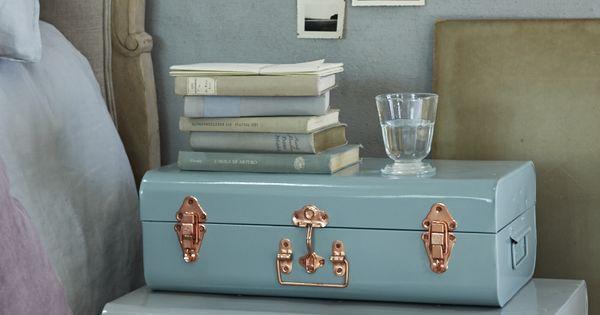Two metal trunks grey eau de nil decorative home for Eau de nil bedroom ideas