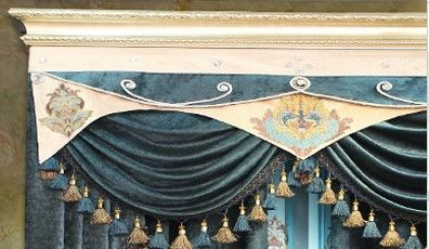 Classical Light Gold Royal Blue Lace Chenille Elegant Curtains Elegant Curtains Curtains Living Room Victorian Curtains