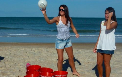 """life size"" beer pong for a beach party or tailgate. yay beach"