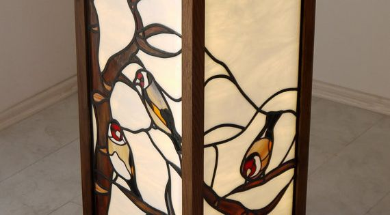 Goldfinch Stained Glass Standing Lamp By Glasscreatures On