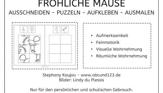 puzzles mit den fr hlichen m usen klebepuzzle puzzle feinmotorik wahrnehmung vorschule. Black Bedroom Furniture Sets. Home Design Ideas