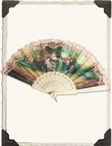 Victorian Trading Co Language of Fans Red Floral Bouquet Handfan
