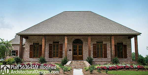 Plan 56364sm 3 Bedroom Acadian Home Plan Southern House Plans
