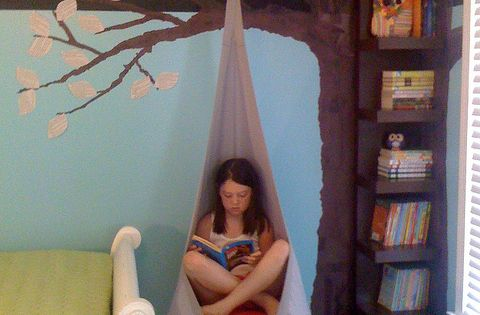 Fun idea - hanging reading chair and tree bookshelf
