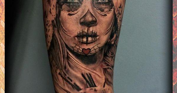 Day of the dead girl clock black for Atomic tattoo columbus ga