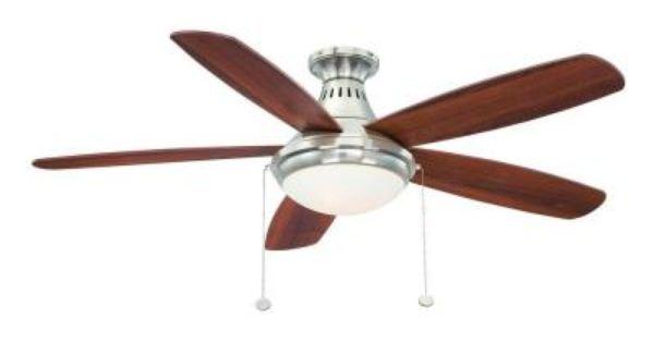 Hampton Bay Burgess 52 In Flush Mount Brushed Nickel Ceiling Fan