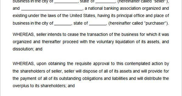 Asset Purchase Agreement Template Word  Agreement