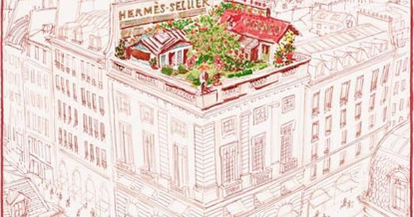 Un Jardin Sur Le Toit Hermes Silk Twill Pocket Square Hand Rolled