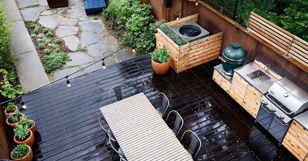 terrasse gestaltung holz dielen steinplatten outdoor k che. Black Bedroom Furniture Sets. Home Design Ideas