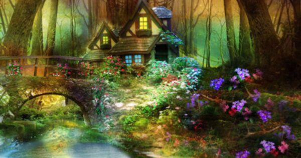 Enchanted Forest Hut Wallpaper Fall Colors Pinterest