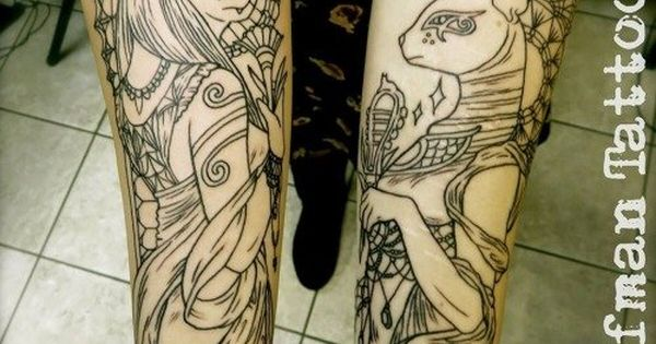 sekhmet and bastet by will koffman ink me deep pinterest wing tattoos wings and bastet. Black Bedroom Furniture Sets. Home Design Ideas