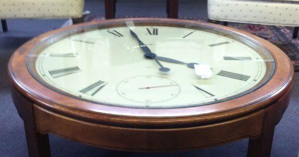 Howard Miller Clock Coffee Table In A Solid Oak Base