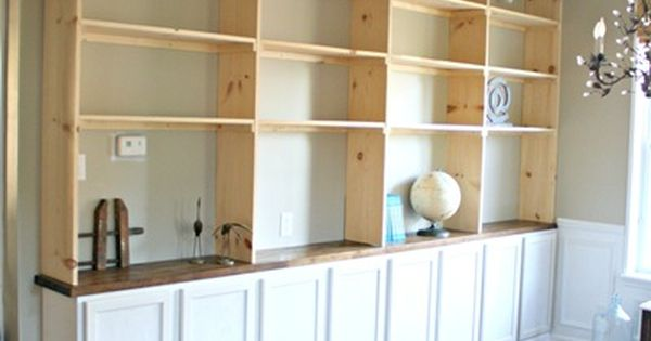 DIY built ins bookcase- around front window in dining room ...