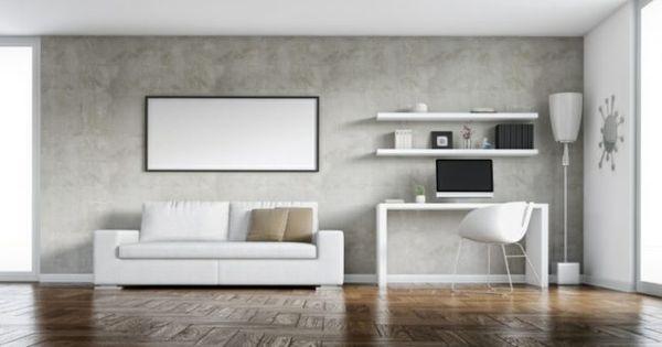Betonwand Selber Machen Spachtel Wohnzimmer Naturmaterialien Sofa Tisch Regale Stehlampe Parkettboden Betonwand Falsche Wande Betonoptik
