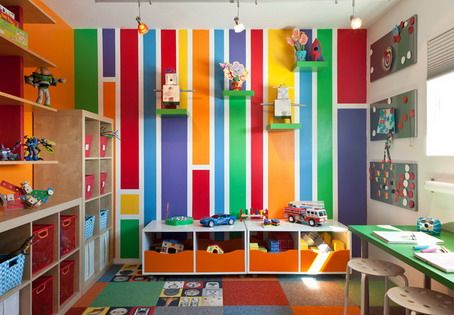 Preschool Classroom Wall Design : Colorful wall themes and furniture decorations in