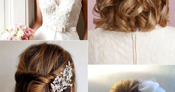 Half up half down hairstyles for brides with short hair ...