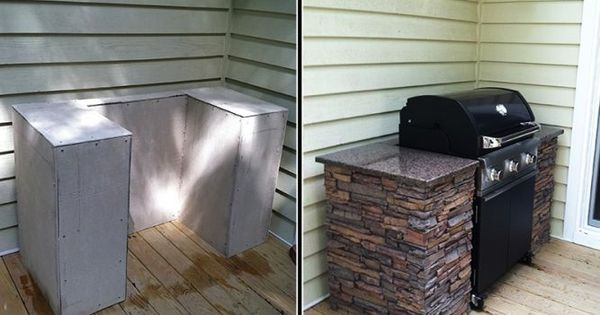 This is a great way to create an outdoor kitchen on the