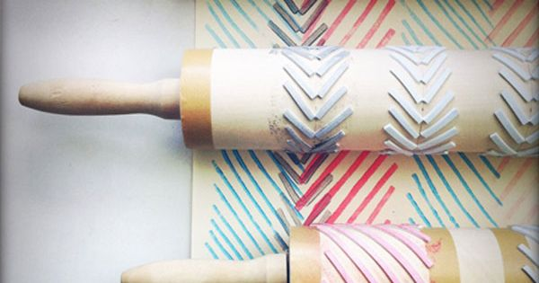 Rolling pin stamps for continuous pattern-making. Great for DIY wrapping paper!