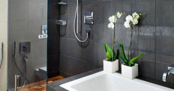 moderne badgestaltung mit einer badewanne dusche wand aus glas und zwei blumen 77 badezimmer. Black Bedroom Furniture Sets. Home Design Ideas