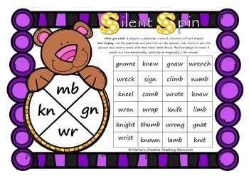 Silent Spin ~ Silent Letter Blends mb kn gn wr | Letter blends ...