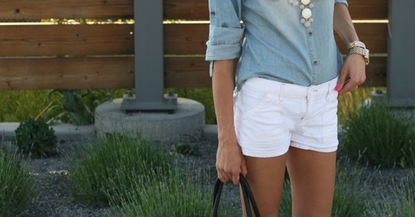 White shorts. Denim button down. Nude Patent flats. Easy summer style. Wish