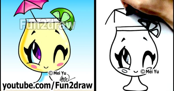 Cartoon Drawing Lessons How To Draw A Summer Drink Lemonade