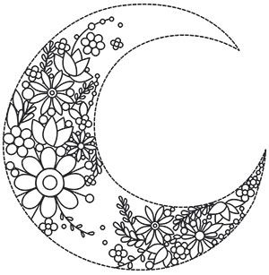 Pretty Floral Blooms Branch Out Inside A Crescent Moon Embroider