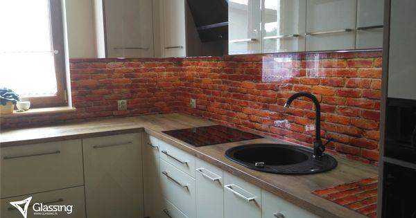 Panele Szklane Kuchenne Motyw Cegly Wydruk Uv Cegla W Kuchni Wystroj Nowoczesna Kuchnia Design Kitchen Cabinets Decor Home Decor