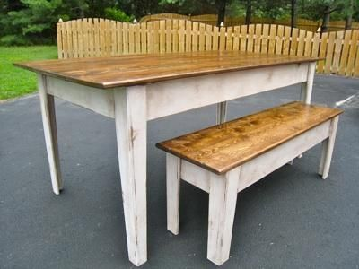 Modern farmhouse kitchen table with bench do it yourself home projects from ana white dining - Ana white kitchen table ...