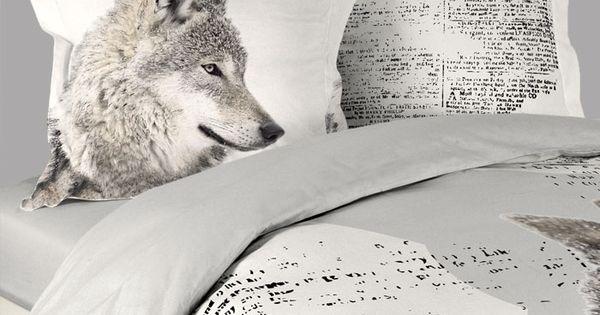 Housse de couette sauvage loup 2 taies d oreillers http - Housse de couette loup ...