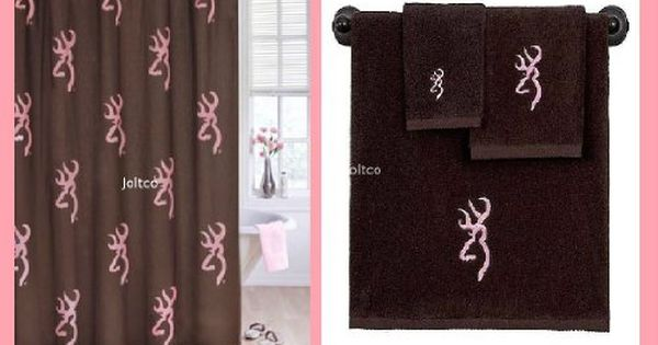 Licensed Browning Buckmark Logo Shower Curtain Towel Set Brown Pink To View Further For This Item Visit The Image L Bathroom Decor Sets Towel Set Curtains