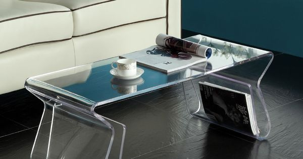 Acrylic Coffee Table With Shelf Legs Modern Minimalistic Living Pinterest Tables Shelves