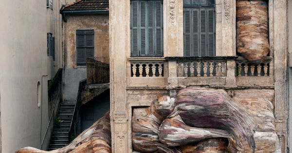 The Rooted Installations of Henrique Oliveira Read more: http://www.sornmag.com/blog/the-rooted-installations-of-henrique-oliveira art installation sculptures