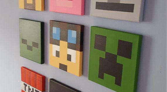Minecraft wall art set of 9 canvases small 8 x 8 schlafzimmer wand minecraft und schweinchen - Minecraft schlafzimmer ...