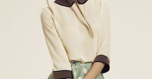 Button Back Studded Collar Blouse-debate outfit?!:)