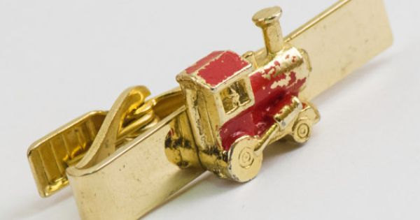 Vintage Tie Clip Train Tie Bar  Caboose by CuffsandClips on Etsy, $14.70